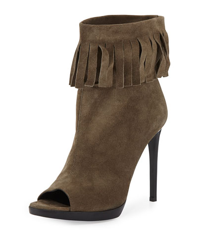 Pelling Fringed Suede Bootie, Military Khaki