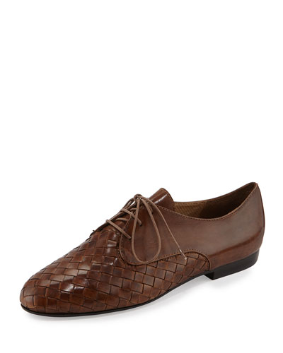 Naxos Woven Leather Oxford, Camel