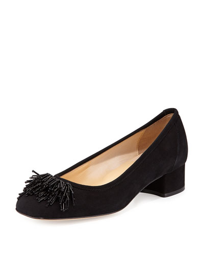 Flynn Beaded Fringe Pump, Black