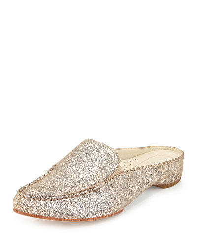 Breva Metallic Mule Slide, Natural/Silver