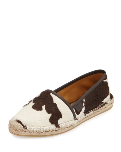 Calf-Hair Espadrille Flat, Brown