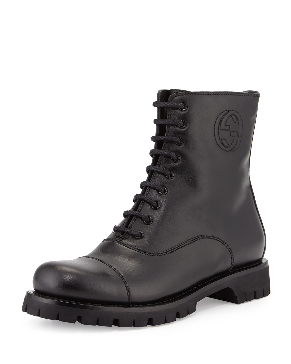 Royan Leather Combat Boot, Black