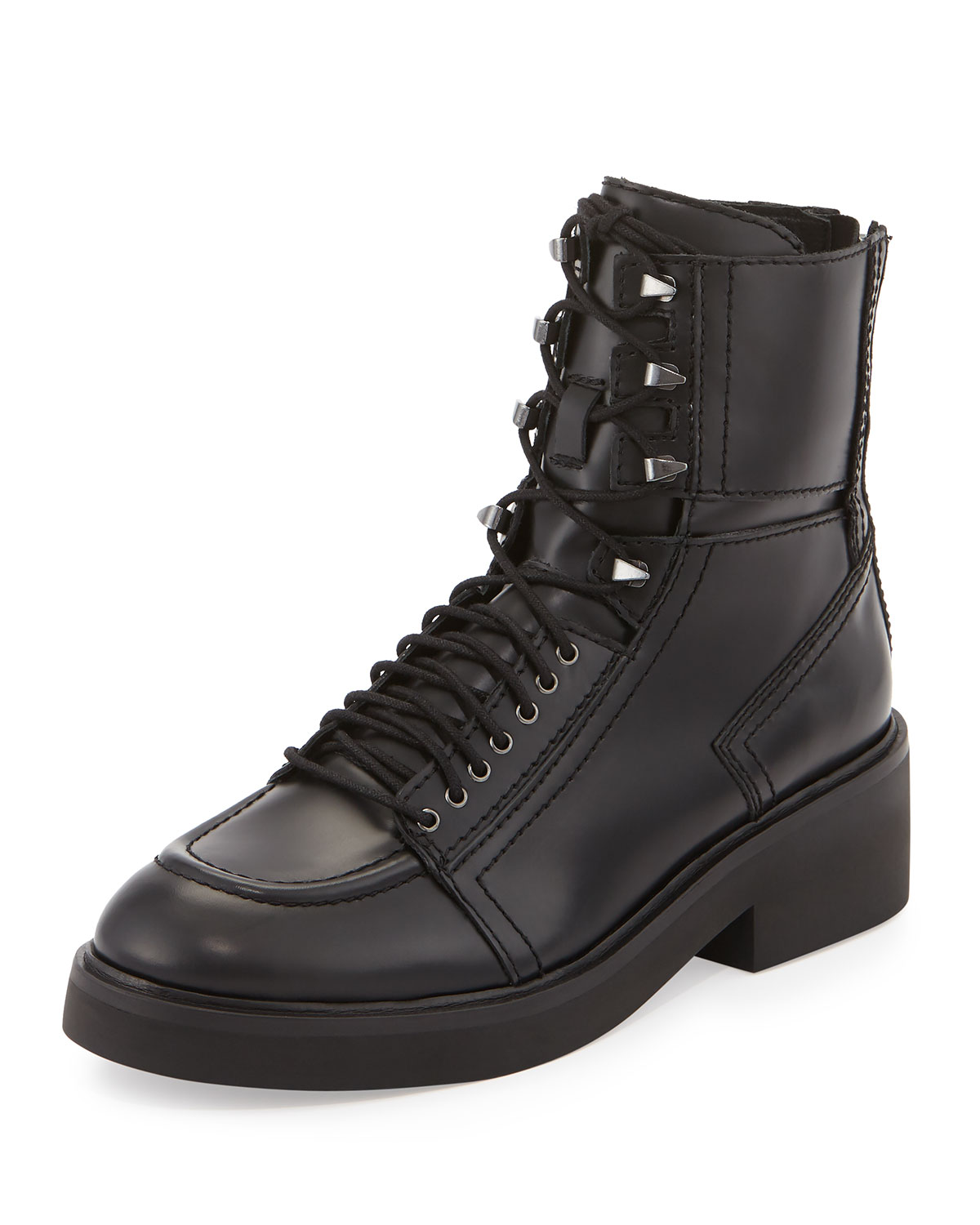 Neal Leather Combat Boots, Black