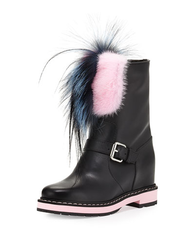 Caroline Fur-Trimmed Leather Buckled Boot