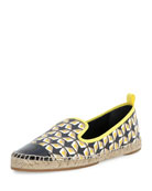 Junia Printed Cap-Toe Espadrille, Black/Straw