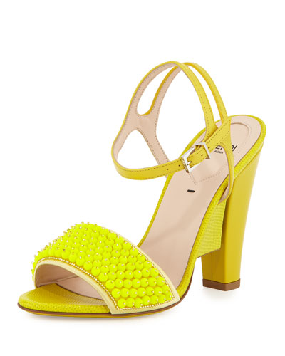 Fantasia Beaded Leather Evening Sandal, Fluorescent Yellow