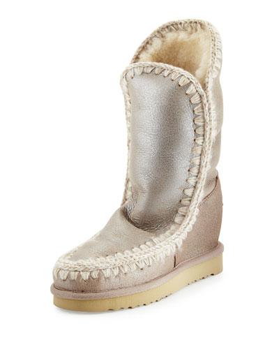 Eskimo Metallic Hidden-Wedge Boot, Stone