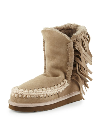 Eskimo Fringe Suede Boot, Light Tan