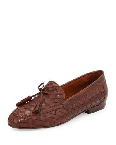 Nicole Woven Leather Loafer, Cuoio