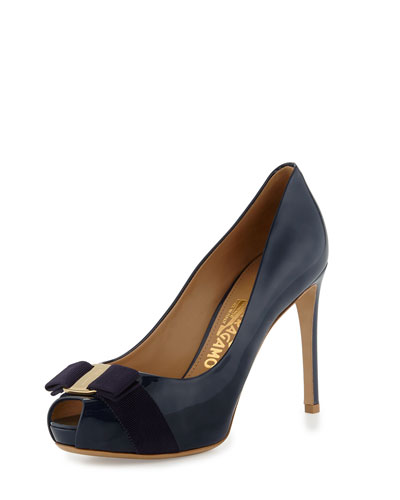 Plum Patent Peep-Toe Bow Pump, Oxford Blue