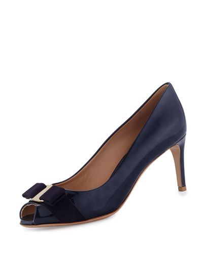 Pola Patent Peep-Toe Bow Pump, Oxford Blue