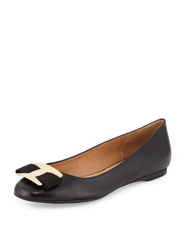 Leather Bow Flat, Black (Nero)