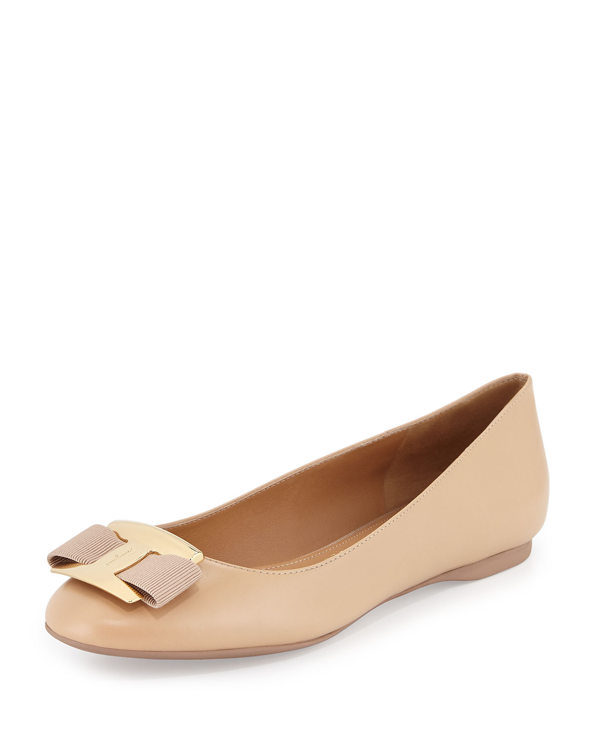 Leather Bow Flat, Bisque