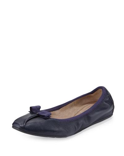 My Joy Matte Leather Ballerina Flat, Oxford Blue