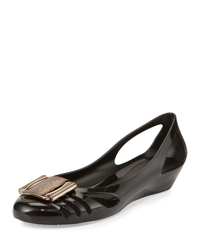 Cutout Jelly Wedge Pump, Nero