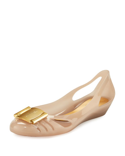 Bermuda Cutout Jelly Wedge Pump, Macaroon Gelato