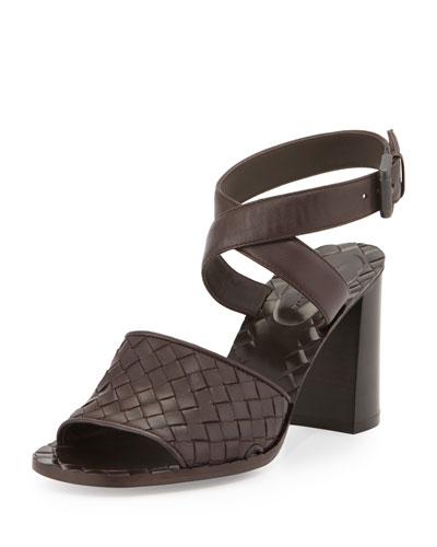 Intrecciato Metallic Ankle-Wrap Sandal, Espresso