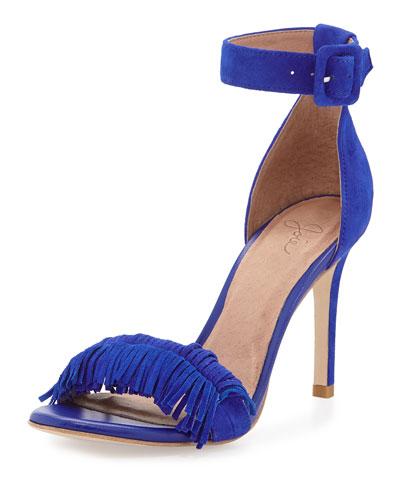 Pippi Naked Suede Fringe Sandal, Royal Blue