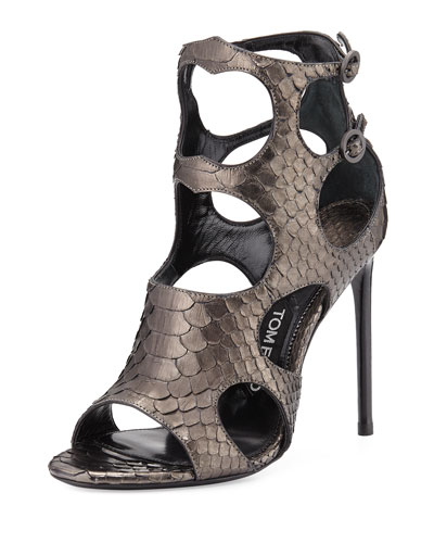 Cutout Python and Leather 105mm Sandal, Antique Gunmetal