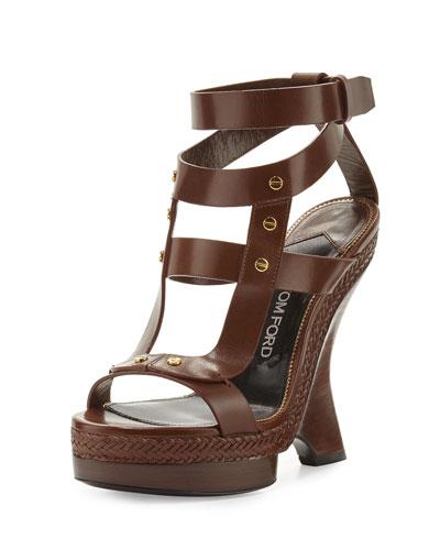 Curved Wedge Strappy Sandal, Khaki