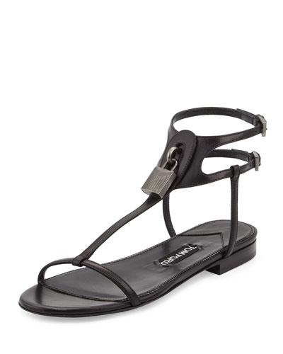 Leather Lock T-Strap Flat Sandal, Black