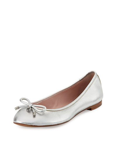 willa metallic leather ballerina flat, silver