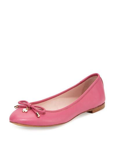 willa classic leather ballerina flat, deep pink