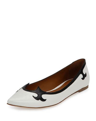 Madras Flat Ballerina Slip-On, White/Black