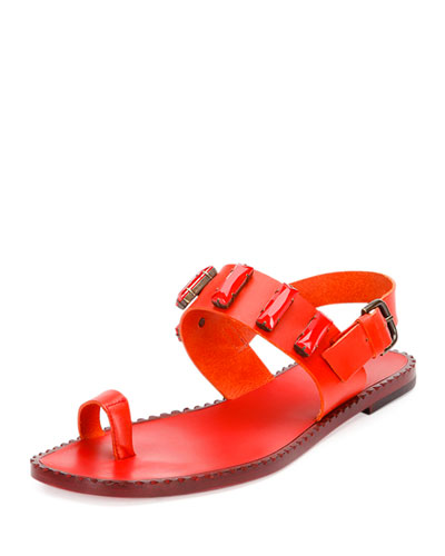 Jeweled Leather Toe-Ring Sandal, Fire