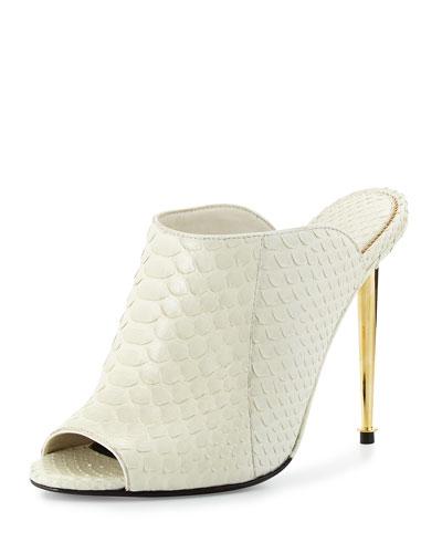 Open-Toe Python Mule Sandal, White