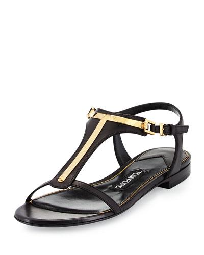 Leather T-Bar Flat Sandal, Black