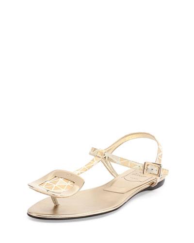 Chips Prismick Leather Sandal, Light Golden