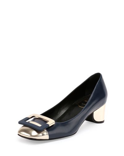 Decollete U-Cut Mid-Heel Pump, Navy/Golden