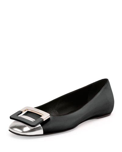 Ballerine U Cut Cap-Toe Flat, Black/Silver