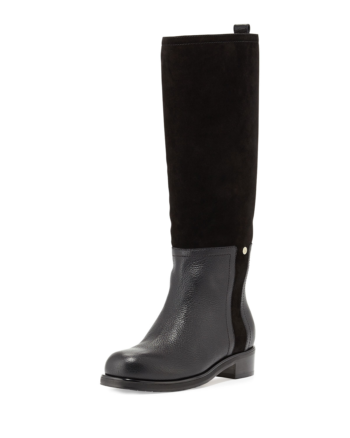 Debut Flat Leather Riding Boot, Black