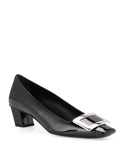 Decollette Belle Vivier Patent Pumps, Black