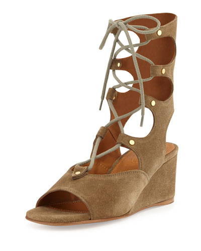 Suede Gladiator Wedge Sandal, Military