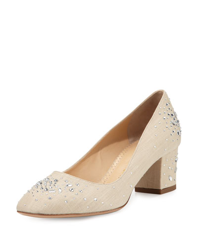 Low-Heel Jeweled Linen Pump, Natural