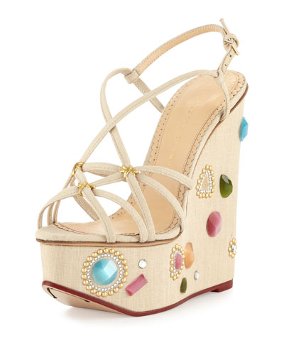 Elizabeth Jeweled Wedge Sandal, Natural
