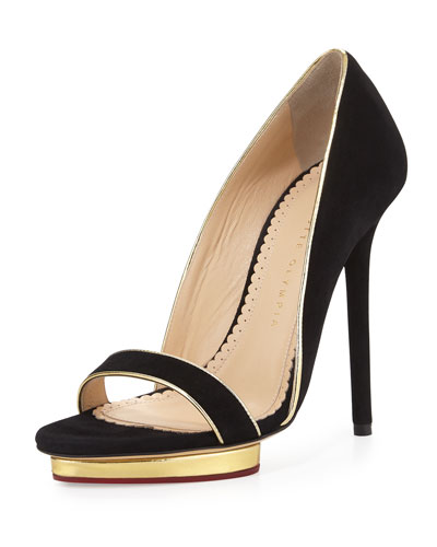 Christina Suede d'Orsay Pump, Black/Gold