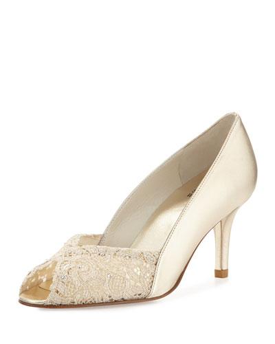 Chantelle Lacy Peep-Toe Pump, Gold