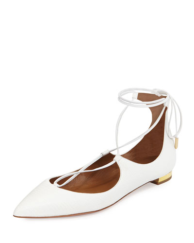 Christy Lace-Up Pointed-Toe Flat, White