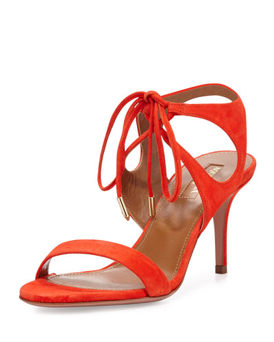 Colette Suede 75mm Sandal, Clementine