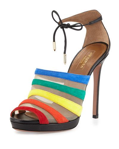 Graphic Striped Suede Sandal, Rainbow/Black