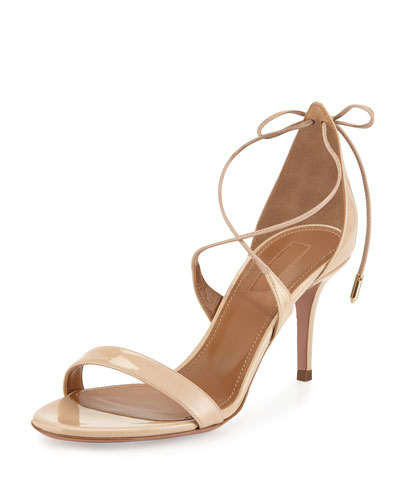 Linda Patent Leather 75mm Sandal, Nude