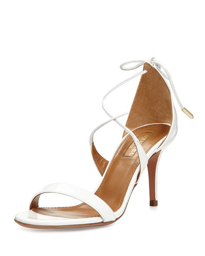 Linda Patent Leather 75mm Sandal, White