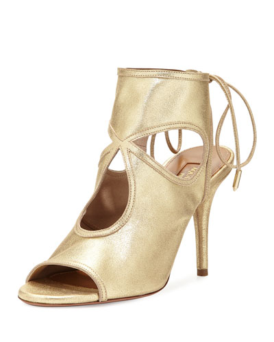 Sexy Thing Suede Cutout Sandal, Light Gold