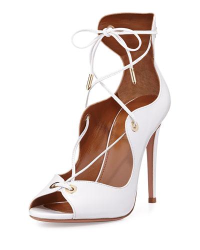 Tango Curvy Lace-Up Sandal, White