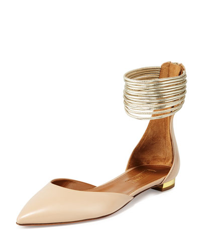 Hello Lover Ankle-Strap Flat, Nude