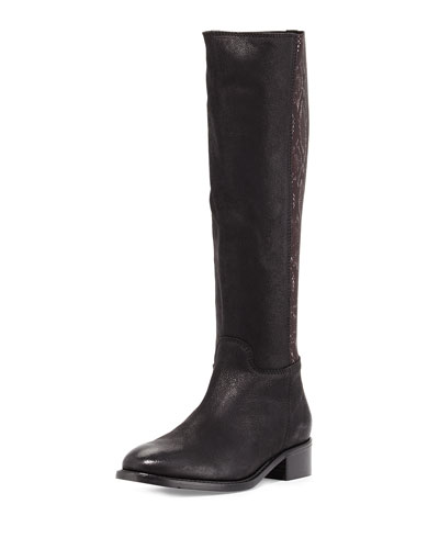 Alaina Snake-Print Knee Boot, Black